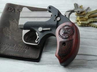 Bond Arms Derringer Extended Grip Super Rosewood Checkered with NRA Eagle Logo