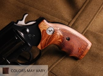 Colt D-Frame (Short Square Butt) Oversized Fingergroove Super Walnut Checkered Fleur-de-Lis with Silver Medallions