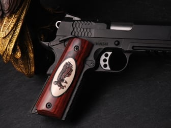 1911 Govt. Classic Panel Super Rosewood, Silverblack Oval, and Bonded Ivory Inlay with Landing Eagle Scrimshaw on Both Sides