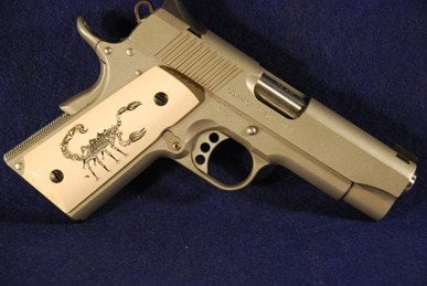 Colt 1911 Officer Classic Panel, Scrimshaw Scorpion, Bonded Ivory