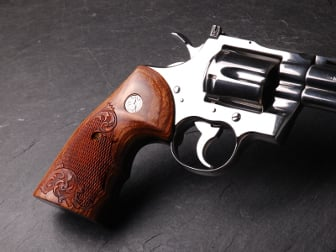Colt Python Oversized Fingergroove Super Walnut Checkered Engraved with Silver Medallions
