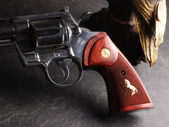 Colt Python Target Super Rosewood Checkered with Gold Medallions & Rampant Colt