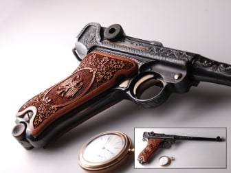 Luger P08 Classic Panel American Walnut with Oak Tree and War Bird