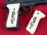 Beretta 92F Classic Panel Bonded Ivory with Landing Eagle with Branch Scrimshaw on Both Sides