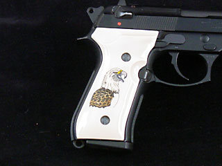 Beretta 92F Classic Panel Bonded Ivory with Eagle Shoulder Scrimshaw on Both Sides