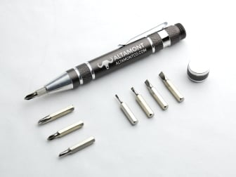 "Aluminum Tool ""Pen"" - Screw top body holds 4 flathead and 4 Phillips head bits. Firm magnet holds bits securely at the tip."