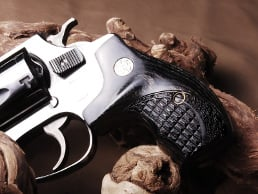 S&W J Round Boot Silverblack Crocback/Stipple with Silver Medallions