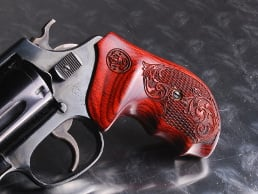 S&W J Round BATELEUR Super Rosewood Checkered Engraved with Laser Logo