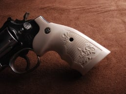 S&W K/L Square BATELEUR® Bonded Ivory Checkered Engraved with Silver Medallions
