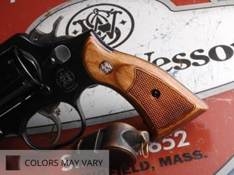 Smith & Wesson K Square Service Panel Super Walnut Checkered with Silver Medallions