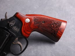 S&W K Square Target Super Rosewood Checkered Engraved with Silver Medallions