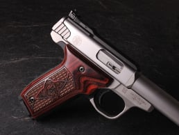 S&W 22 Victory Classic Panel Super Rosewood Crocback/Stipple with Laser Logo