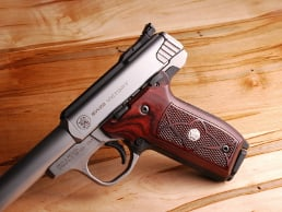 S&W 22 Victory Classic Panel Super Rosewood Checkered with Silver Medallions