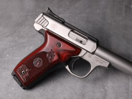 S&W 22 Victory Classic Panel Super Rosewood Checkered Engraved with Laser Logo