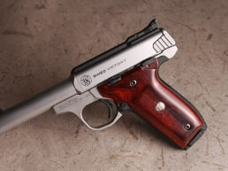 S&W 22 Victory Classic Panel Super Rosewood with Silver Medallions