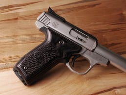 S&W 22 Victory Classic Panel Silverblack Checkered with Laser Logo