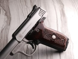 S&W 22 Victory Classic Panel Dark Super Walnut Crocback/Stipple with Silver Medallions