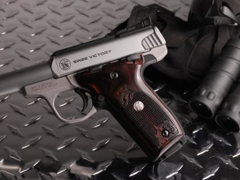 S&W 22 Victory Classic Panel Dark Super Walnut Checkered Engraved with Silver Medallions