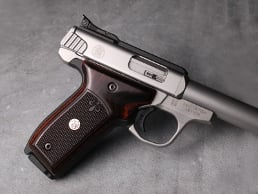 S&W 22 Victory Classic Panel Dark Super Walnut Checkered Fleur-de-Lis with Silver Medallions