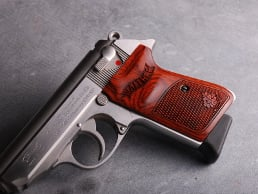 Walther PPK/S (S&W Version Only) Ultima Panel Super Rosewood Oak Leaf Checkered with Walther Banner